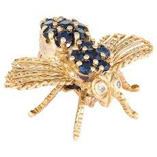 Cartier Bee Brooch Vintage 18 Karat Yellow Gold Diamond Sapphire Estate Fine Jewelry