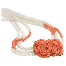 """Vintage Carved Coral Necklace Freshwater Pearls 14 Karat Gold Long 32"""" Flower Strand"""