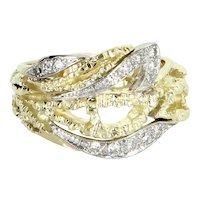 Cigar Diamond Ring Wide Band Vintage 14 Karat Yellow Gold Estate Fine Jewelry Sz 9