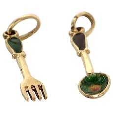 Spoon & Fork Charms Vintage 14 Karat Yellow Gold Enamel Culinary Jewelry Estate Fine