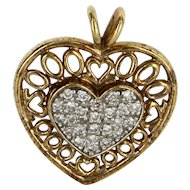 Diamond Heart Pendant Vintage 10 Karat Yellow Gold Estate Fine Jewelry Pre Owned