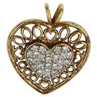 Diamond Heart Pendant Vintage 10 Karat Yellow Gold Estate Fine Jewelry Pre Owned