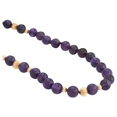 "Vintage 10mm Amethyst Bead Necklace 14 Karat Yellow Gold 32"" Estate Fine Jewelry"