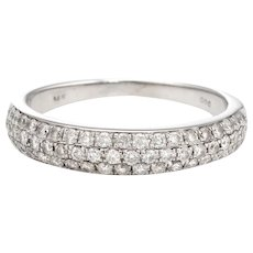 Estate Pave Diamond Band 14 Karat White Gold 0.60ct Wedding Stacking Ring Sz 6