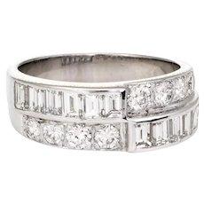 Vintage Diamond Wedding Band 14 Karat White Gold 1.60ctw Estate Bridal Jewelry 7.25