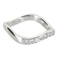 Undulating Diamond Band Vintage 18 Karat White Gold Estate Fine Jewelry Sz 5.75