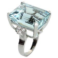 30ct Aquamarine Diamond Cocktail Ring Vintage 14 Karat White Gold Estate Fine Jewelry