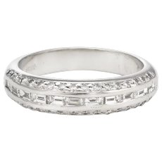 Estate Mixed Cut Diamond Band Platinum 0.59ct Wedding Stacking Ring Sz 4.75