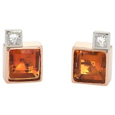 Vintage Citrine Diamond Square Stud Earrings 18 Karat Yellow Gold Estate Fine Jewelry