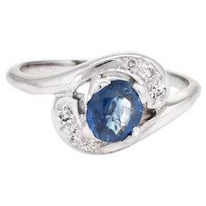 Vintage Blue Sapphire & Diamond Ring Small Cocktail 14 Karat White Gold Fine Jewelry