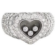 Estate Chopard Diamond Heart Ring 18 Karat White Gold Sz 6 Fine Jewelry Pre Owned