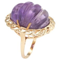 Vintage Fluted Amethyst Ring 14 Karat Yellow Gold Oval Cocktail Estate Fine Jewelry