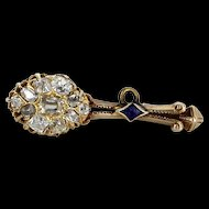 Halley's Coment Diamond Brooch Antique Victorian Vintage 15 Karat Gold Fine Heirloom