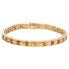 Vintage Citrine Bracelet 22.50ct 18 Karat Yellow Gold Tennis Line Estate Jewelry
