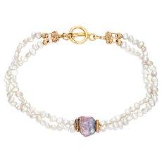 Estate 2 Strand Freshwater Pearl Bracelet 14 Karat Yellow Gold Vintage Fine Jewelry