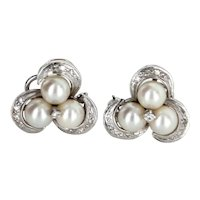 Cultured Pearl Diamond Clip Cocktail Cluster Earrings Vintage 14 Karat White Gold