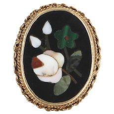 Pietra Dura Vintage Mosaic Ring 14 Karat Yellow Gold Estate Fine Jewelry Heirloom 6
