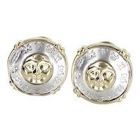 Moon Star Zodiac Earrings Vintage 14 Karat Two Tone Gold Celestial Jewelry Estate