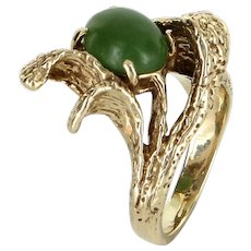 Jadeite Jade Nugget Ring Vintage 14 Karat Yellow Gold Estate Fine Jewelry Pre Owned