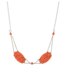 Carved Coral Flower Necklace Vintage 10 Karat Yellow Gold Estate Fine Jewelry