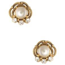 Chanel Vintage 80s Earrings Faux Pearl Crystal Clip Earrings Estate Jewelry