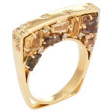 Estate Bridge Ring Diamond Citrine Quartz 18 Karat Yellow Gold Jewelry Sz 7 Square