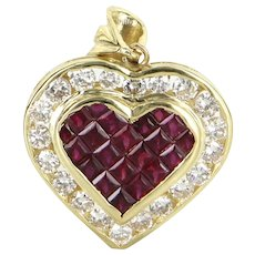 Ruby Diamond Heart Pendant Vintage 18 Karat Yellow Gold Estate Fine Jewelry Pre Owned