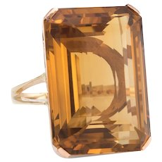 Vintage 50ct Citrine Ring 14 Karat Yellow Gold Emerald Cut Cocktail Estate Jewelry