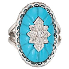 Fluted Turquoise Diamond Oval Cocktail Ring Vintage 14 Karat White Gold Fine Jewelry