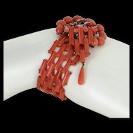 Antique Victorian Natural Coral Buckle Bracelet Vintage 9 Karat Rose Gold Vintage