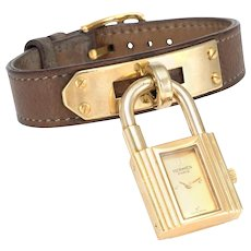 c1996 Hermes Kelly Watch Yellow Gold Plate Brown Leather Estate Signed Jewelry