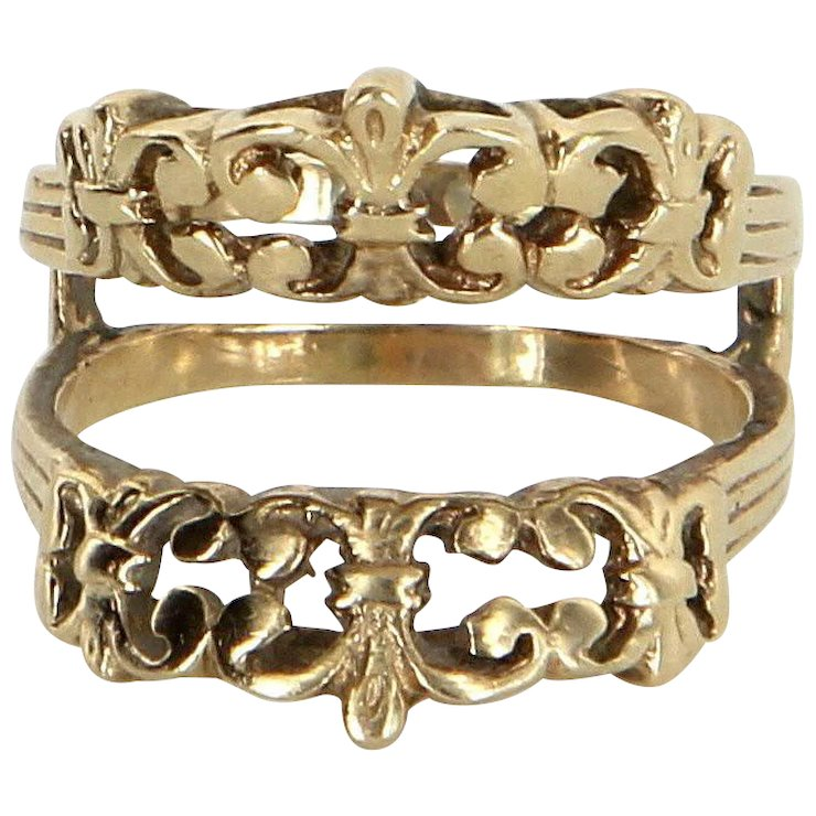 Fleur de Lis Wedding Ring Guard Wrap Vintage 14 Karat Yellow Gold ...