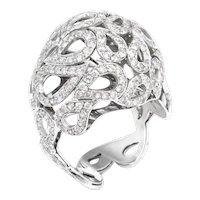 3ct Diamond Bombe Dome Ring Vintage 18 Karat White Gold Estate Fine Jewelry Sz 8