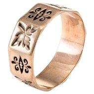 Antique Victorian Fleur de Lis Sz 7 9 Karat Rose Gold Wedding Band Ring Vintage Jewelry