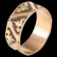 Antique Victorian 9 Karat Rose Gold Fleur de Lis Wedding Band Ring Vintage Sz 8.25 F
