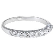 Half Diamond Band Ring Vintage 14 Karat White Gold Estate Fine Jewelry Pre Owned