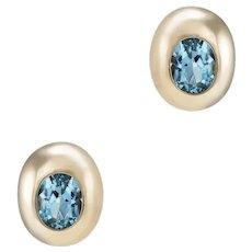Blue Topaz Stud Earrings Vintage 14 Karat Yellow Gold Estate Fine Jewelry Pre Owned