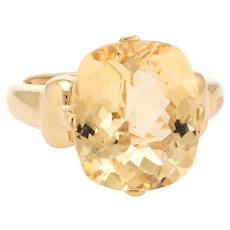Vintage Lemon Quartz Ring 10 Karat Yellow Gold Cocktail Statement Jewelry Sz 7.25