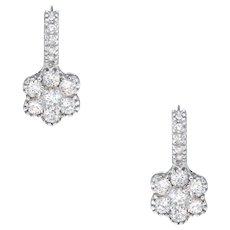 1.33ct Diamond Flower Drop Earrings Estate 18 Karat White Gold Fine Jewelry Pre Owned