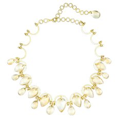 Golden Yellow Topaz Statement Choker Necklace Vintage 18 Karat Gold Estate Jewelry