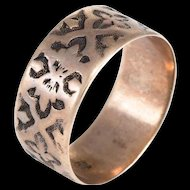 Antique Victorian Embossed Wedding Band Ring Sz 7 Vintage 10 Karat Rose Gold Old