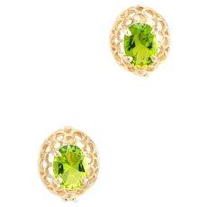 Peridot Earrings Vintage 14 Karat Yellow Gold Estate Fine Jewelry Pre Owned