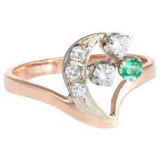 Crescent Moon Star Diamond Emerald Russian Ring Vintage 14 Karat Rose Gold Estate