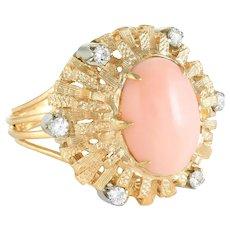 Angel Skin Coral Diamond Cocktail Ring Vintage 18 Karat Yellow Gold Estate Jewelry