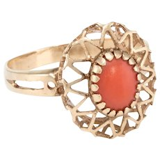 Coral Cocktail Ring Vintage 14 Karat Yellow Gold Estate Fine Jewelry Heirloom