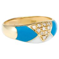 Diamond Enamel Band Ring Vintage 18 Karat Gold Estate Fine Jewelry Pre Owned 9.5