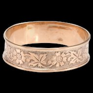 Antique Victorian 10 Karat Rose Gold Embossed Flower Wedding Band Ring Sz 9 Rose Gold