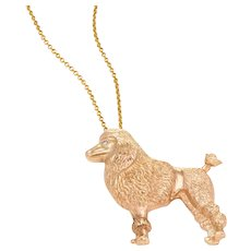Vintage Toy Poodle Dog Pendant Necklace 14 Karat Gold Estate Fine Animal Jewelry