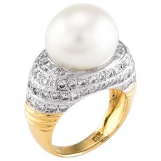 Cultured South Sea Pearl Diamond Cocktail Ring Vintage 18 Karat Yellow Gold Estate
