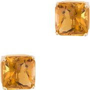 Citrine Square Stud Earrings Vintage 14 Karat Yellow Gold Estate Fine Jewelry